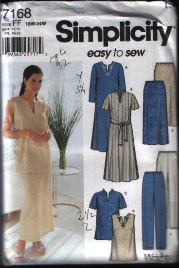 Simplicity 7168  Women Plus Size Dress, Top, Skirt, Pants, Belt 18w 20w 22w 24w