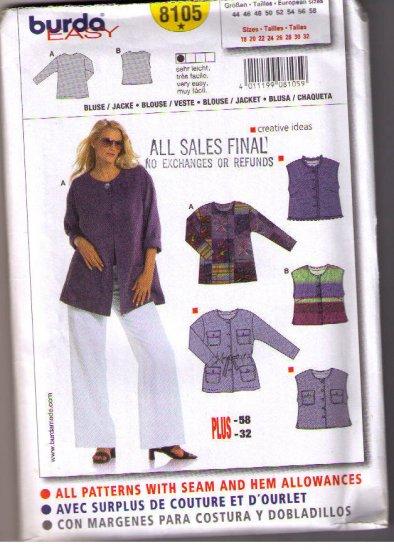 Burda 8105 Uncut Sewing Pattern Plus Size tops,  Jackets Sizes 18 20 22 24 26 28 30 32