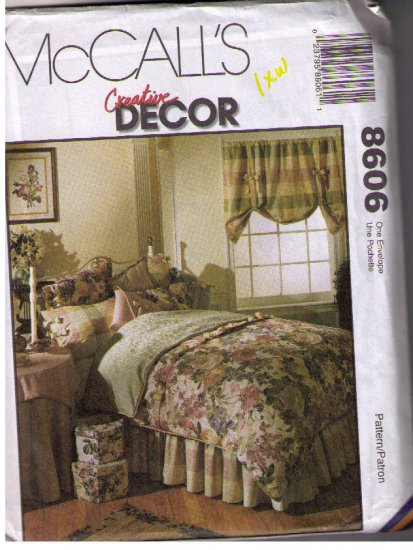Mccalls 8606 Sewing Pattern Uncut  Bedroom Decor Coverlet Shams Window Treatment