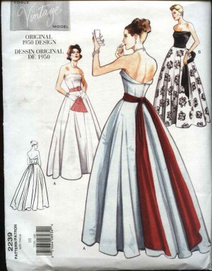 Vogue pattern 2239 Sz 10 Vintage Repro Gown Dress With SAsh