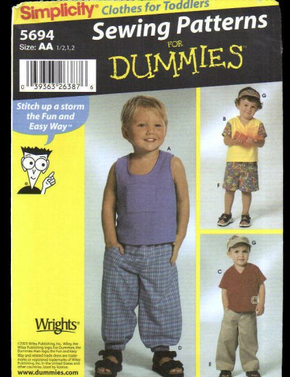 Uncut Simplicity 5694 Sewing Pattern Toddlers Pants Shorts Visor and Knit Tops Size 1/2-2
