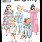 Simplicity 8093 Girls and Childs Nightgown, Robe and Long or Short Pajamas sz KK 7-12 uncut