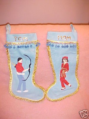 Vintage Christmas Stockings 1960s? FREE SHIPPING!!!