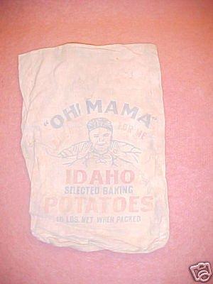 """Vintage Cloth Bag """"Oh Mama"""" Potatoes FREE SHIPPING!!!"""
