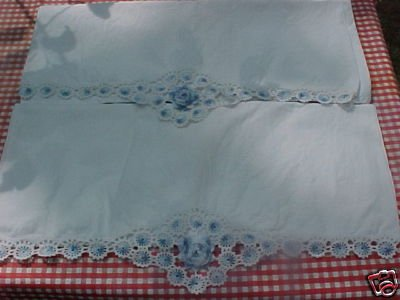Vintage Hand Made Lace Pillow Cases FREE SHIPPING!!!