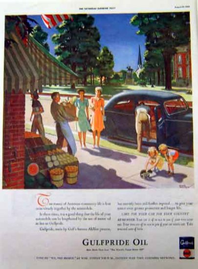 Gulf Pride Oil 1942 WW II Era Print Ad