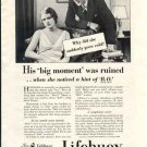 Lifebuoy Soap Ad 1931 - Ruined by Hint of BO