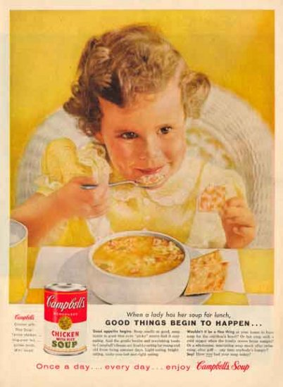 CAMPBELL's SOUP Ad - 1959 Lady has Her Soup