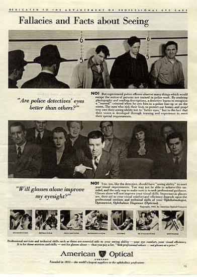 AMERICAN OPTICAL Ad 1947 - Eyesight Detective