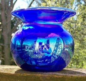 Charles Gibson Blue Carnival Glass Vase