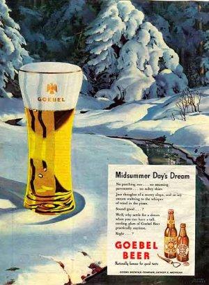 GOEBEL BEER Ad 1947 - George Shepherd Art