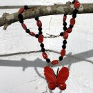 Red Jasper and Czech Crystal Butterfly Necklace