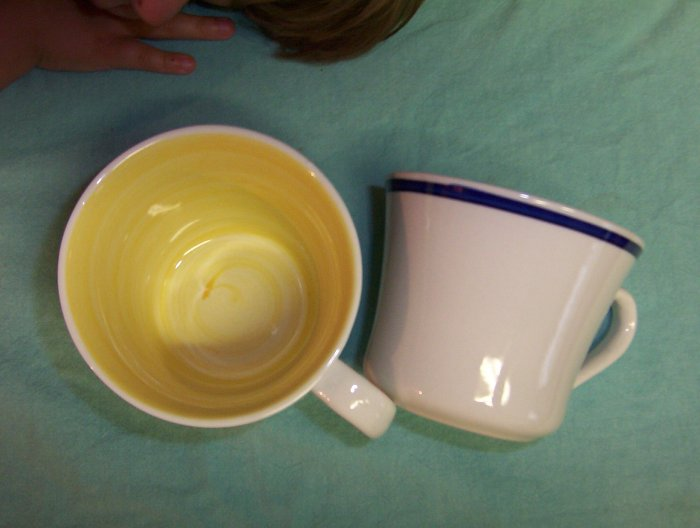 Gibson Housewares China Coffee Cup's Two-2- mug's-Quality Handpainted Eclectic -FREE SHIPPING