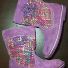 Girl Sz. 10 PURPLE BOOTS LEATHER & WOVEN FABRIC - FREE SHIPPING