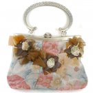 Silk Floral Evening Bag with Ribbon Detail
