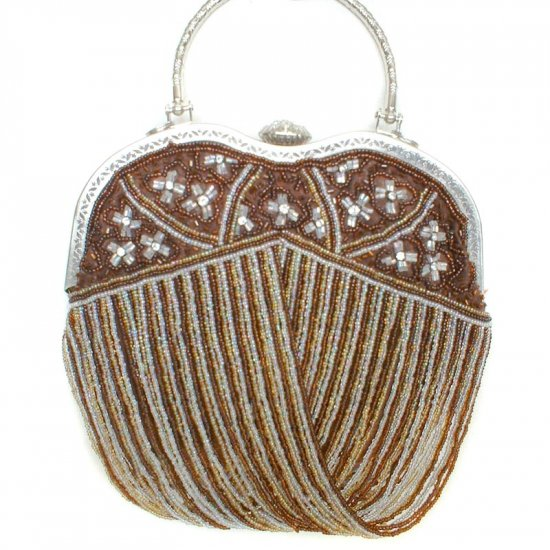 Brown Beaded Heart Shaped Evening Bag