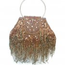 Brown Beaded Butterfly Evening Bag