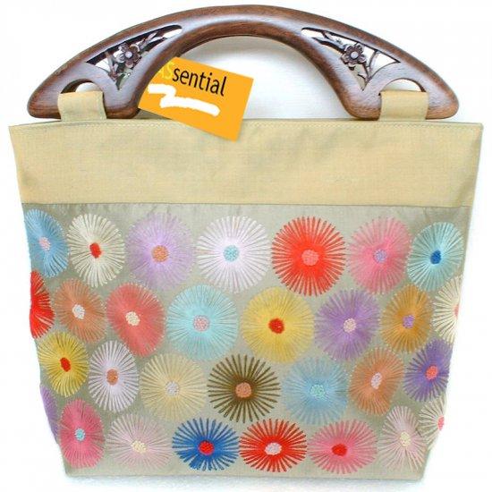 Green Silk Flower Embroidered Handbag With Wooden Handles
