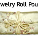 Silky Embroidered Brocade Jewelry Travel Organizer Roll Pouch (G1)