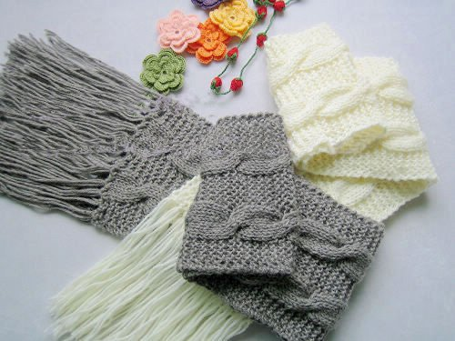Hand-knitted pair grey and cream white   wool scarf