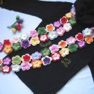 Hand-crochetted multi-colour peach blossom flowers scarf