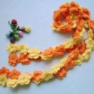 Hand-crochetted yellow and orange  peachblossom flowers scarf