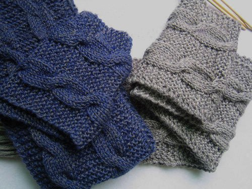 Hand-knitted pair blue and grey long scarves