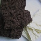 Amazing hand-knitted pair white and coffee  scarf