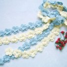 Hand-crochetted white  and blue peachblossom flowers scarf