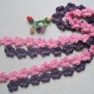 Hand-crochetted purple and pink peachblossom flowers scarf