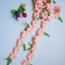 Hand-crochetted   pink peachblossom flowers scarf with green leaves