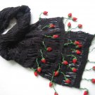 Hand-crochetted black long scarf with lovly red strawberry