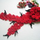 Hand-crochetted red peachblossom flowers scarf with black leaves