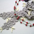 Hand-crochetted grey  peach  blossom flowers scarf  with cream white  leaves