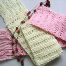 Hand-knitted beautiful pair pink and cream white  long scarf