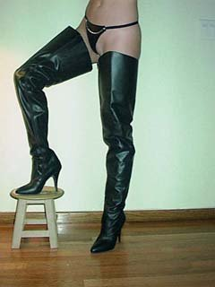 Leather Custom Made Crotch Thigh High Boots Usa Made Fetish