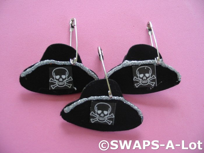 Mini Black Skull Pirate Hat SWAPS Kit for Girl Kids Scout makes 25