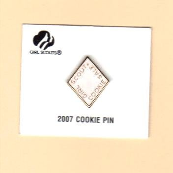 Girl Scout Cookie Activity Sale- Girl Cookies Pin- White 2007