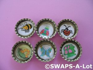 Mini Bugs-n-Bottle Caps SWAPS Kit for Girl Kids Scout makes 25