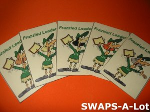 Mini Laminated Frazzled Leader SWAPS Kit for Girl Kids Scout makes 25