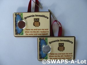 Mini Brown Owl Investiture w/Pond Decoupage SWAPS Kit for Girl Kids Scout makes 12