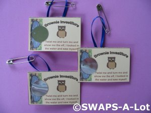 Mini Brown Owl Investiture Card SWAPS Kit for Girl Kids Scout makes 25