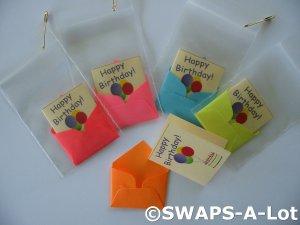 Mini Happy Birthday Card/Envelope SWAPS Kit for Girl Kids Scout makes 25