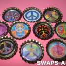 Mini Groovy Peace Signs-n-Bottle Caps SWAPS Kit for Girl Kids Scout makes 25