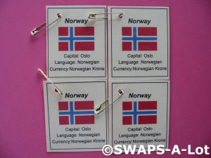 Mini Norway: Flag, Capital Thinking Day SWAPS Kit for Girl Kids Scout makes 25