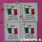 Mini Italy: Flag, Capital Thinking Day SWAPS Kit for Girl Kids Scout makes 25