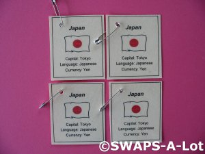 Mini Japan: Flag, Capital Thinking Day SWAPS Kit for Girl Kids Scout makes 25