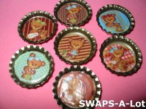 Mini Teddy Bear-n-Bottle Caps SWAPS Kit for Girl Kids Scout makes 25