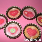 Mini Lovely Hearts-n-Bottle Caps SWAPS Kit for Girl Kids Scout makes 25
