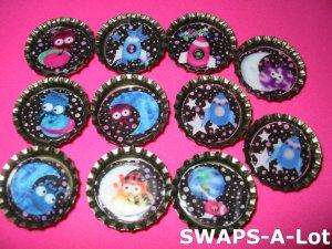 Mini Aliens & Space Ship-n-Bottle Caps SWAPS Kit for Girl Kids Scout makes 25